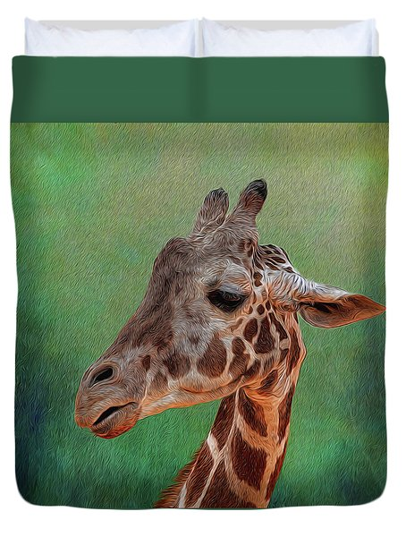 Duvet Cover featuring the photograph Giraffe Square Painted by Judy Vincent