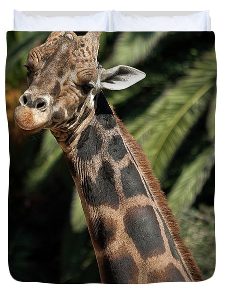Duvet Cover featuring the photograph Giraffe Study 2 by Roger Mullenhour
