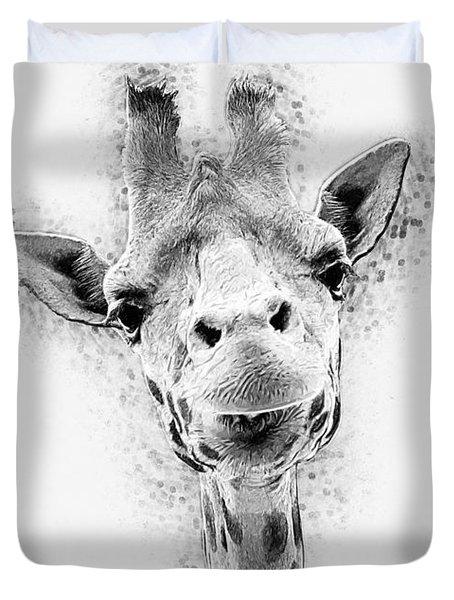 Duvet Cover featuring the digital art Giraffe by Taylan Apukovska