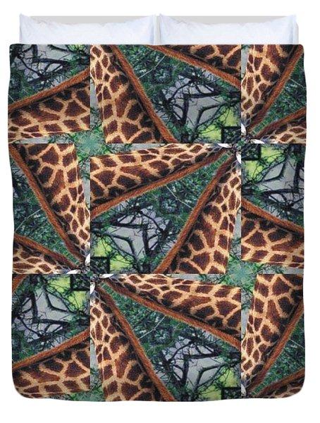 Giraffe Through The Window Duvet Cover by Maria Watt