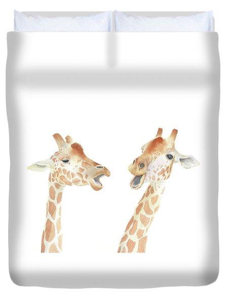 Duvet Cover featuring the painting Giraffe Watercolor by Taylan Apukovska