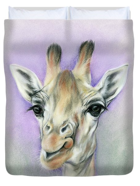 Giraffe With Beautiful Eyes Duvet Cover