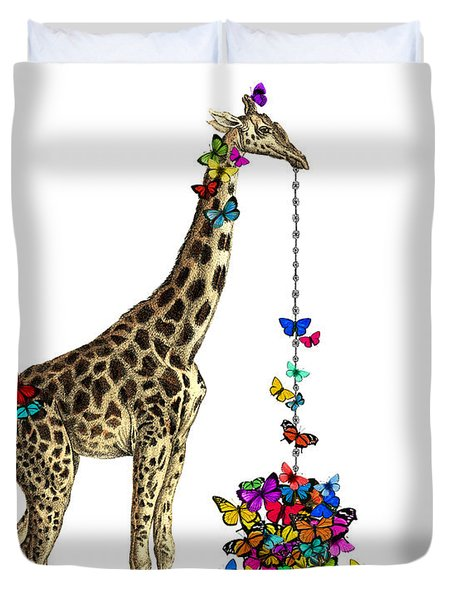 Giraffe With Colorful Rainbow Butterflies Duvet Cover