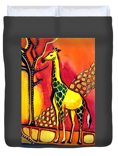 Giraffe With Fire  Duvet Cover