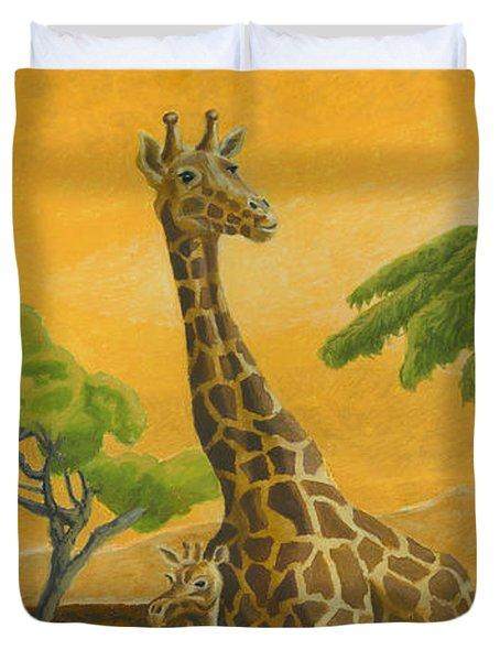 Giraffes At Sunset Duvet Cover