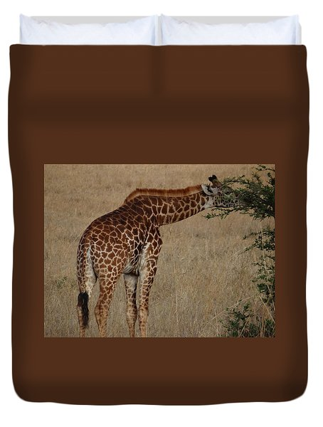 Giraffes Eating - Side View Duvet Cover