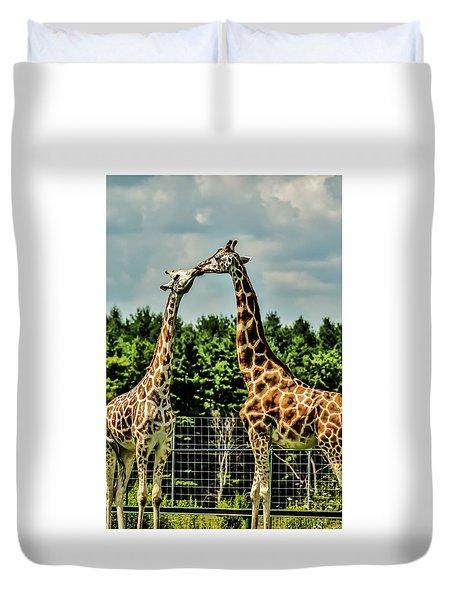Giraffes Necking Duvet Cover