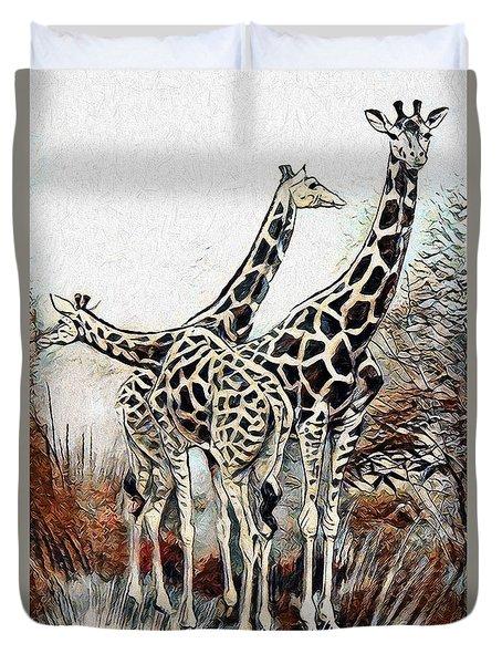 Duvet Cover featuring the digital art Giraffes by Pennie McCracken