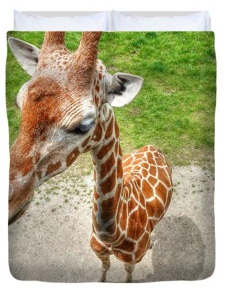 Giraffe's Point Of View Duvet Cover by Michael Garyet