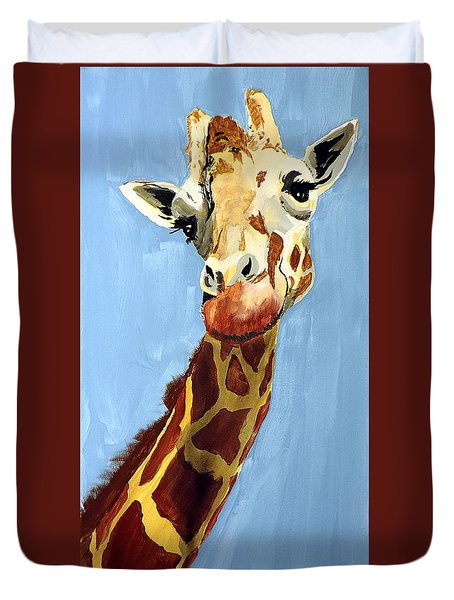 Duvet Cover featuring the painting Girard Giraffe by Tom Riggs