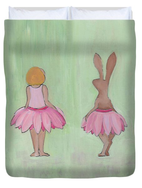 Girl And Bunny In Pink Tutus Duvet Cover