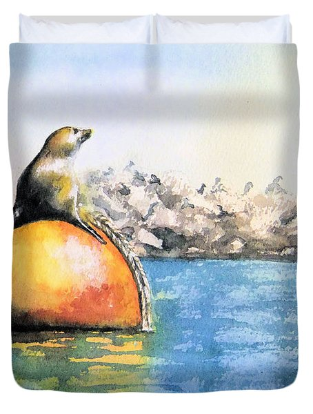 Girl And Buoy Duvet Cover
