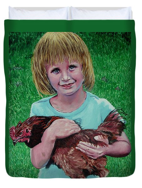 Girl And Chicken Duvet Cover by Stan Hamilton