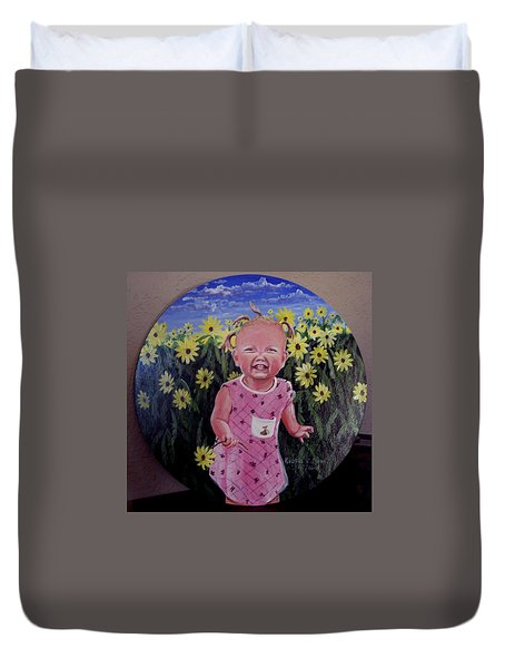 Girl And Daisies Duvet Cover by Ruanna Sion Shadd a'Dann'l Yoder