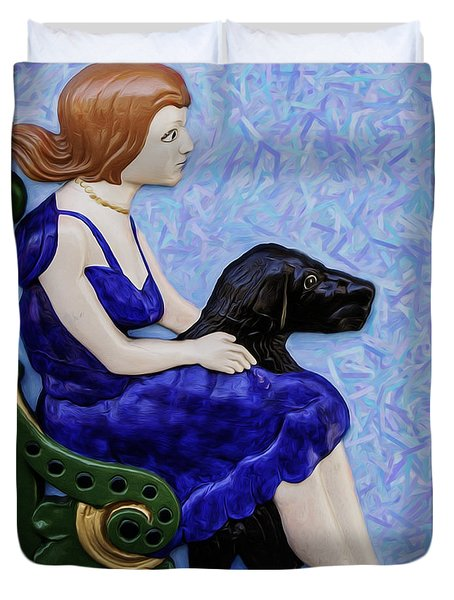 Girl And Dog Duvet Cover