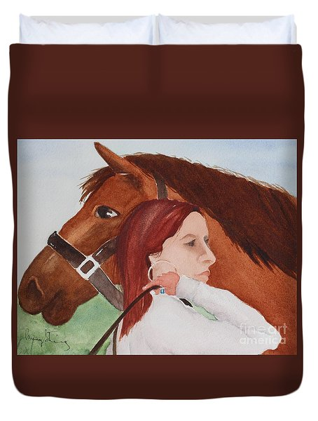 Girl And Her Horse Duvet Cover