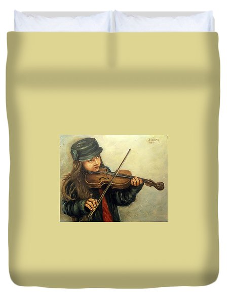Girl And Her Violin Duvet Cover