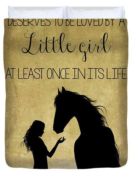 Girl And Horse Silhouette Duvet Cover