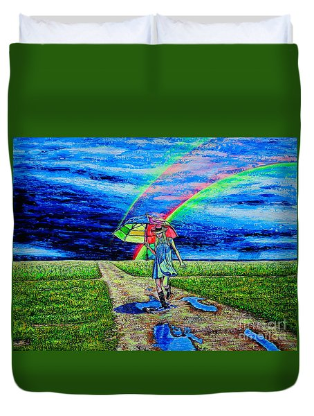 Duvet Cover featuring the painting Girl And Puddle by Viktor Lazarev