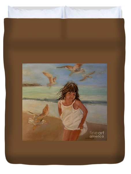 Girl And The Seagulls Duvet Cover by Ceci Watson