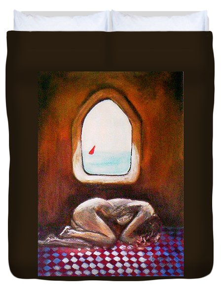 Duvet Cover featuring the painting Girl At The Beach by Winsome Gunning