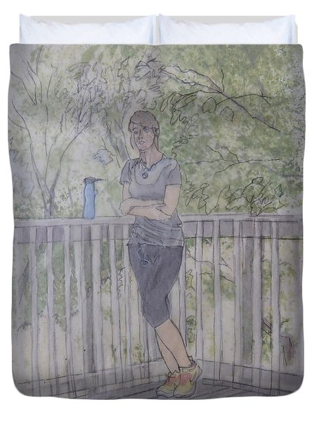 Duvet Cover featuring the painting Girl At The Mountain Top by Joel Deutsch
