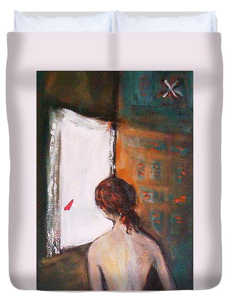 Duvet Cover featuring the painting Girl At The Window by Winsome Gunning