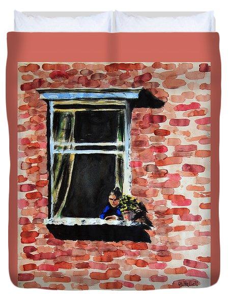 Girl At Window Duvet Cover