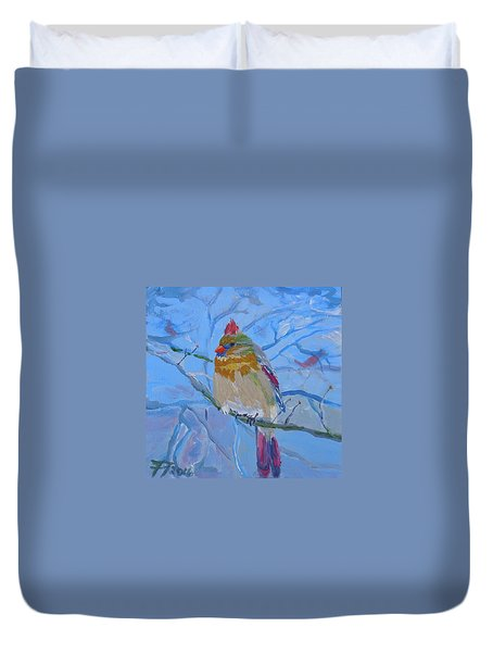 Duvet Cover featuring the painting Girl Cardinal by Francine Frank