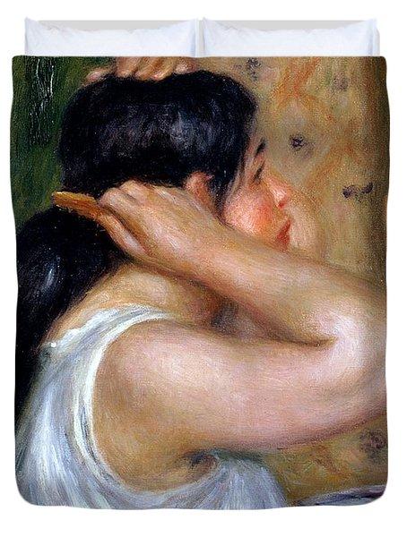 Girl Combing Her Hair Duvet Cover by Pierre Auguste Renoir