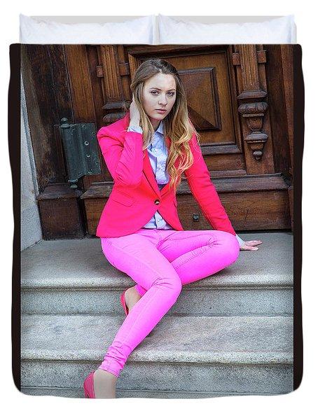Girl Dressing In Pink Duvet Cover
