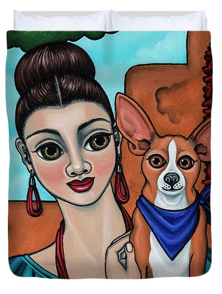 Girl Holding Chihuahua Art Dog Painting  Duvet Cover