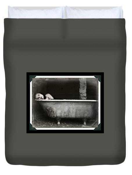 Girl In A Bath Tub  Duvet Cover by Pamela Patch