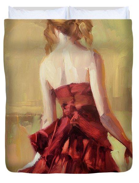 Girl In A Copper Dress II Duvet Cover