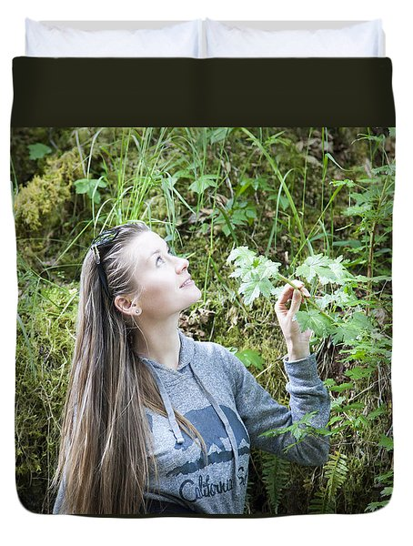 Girl In A Forest Duvet Cover