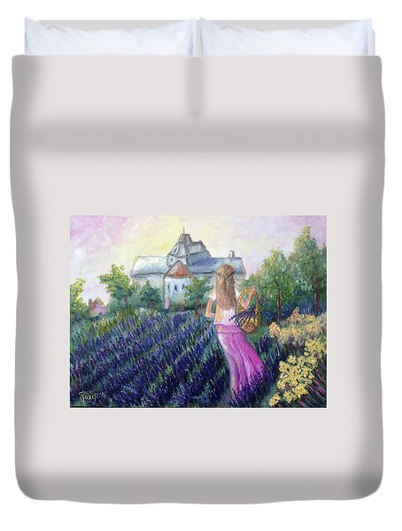 Girl In A Lavender Field  Duvet Cover