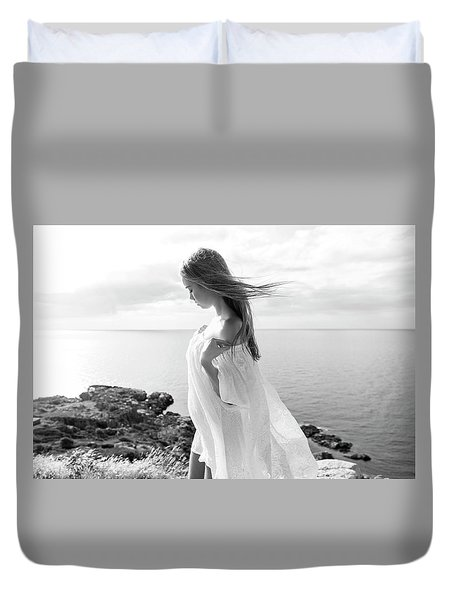 Girl In A White Dress By The Sea Duvet Cover