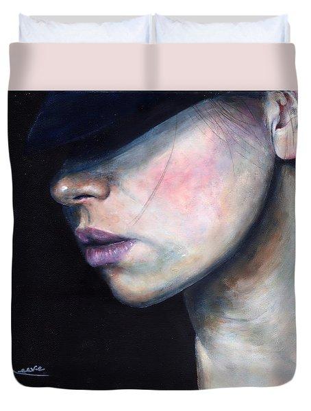 Girl In Black Hat Duvet Cover