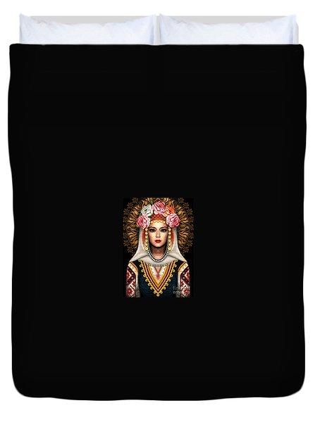 Girl In Bulgarian National Costume Duvet Cover by Stoyanka Ivanova