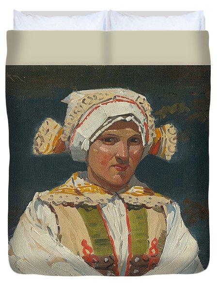 Girl In Costume, Antos Frolka, 1910 Duvet Cover