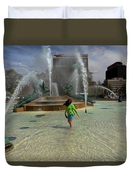 Girl In Fountain Duvet Cover