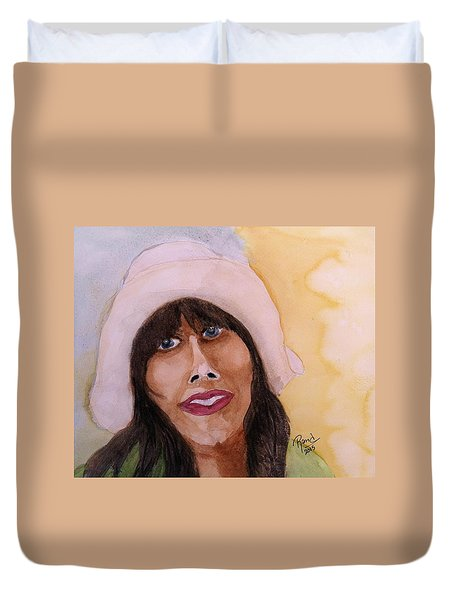 Duvet Cover featuring the painting Girl In Hat by Rand Swift