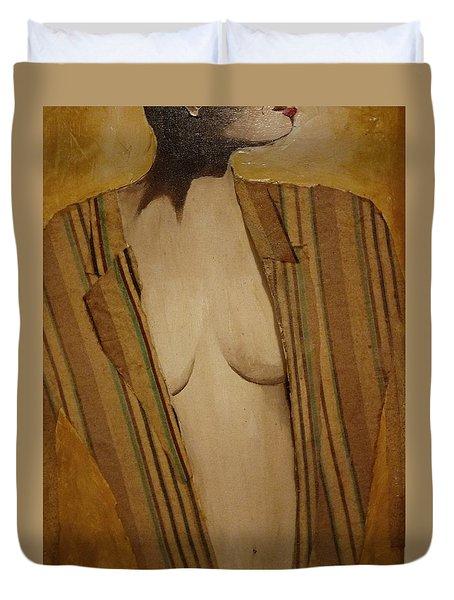Girl In Man's Shirt Duvet Cover