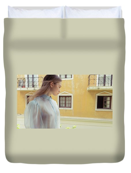 Girl In Profile Duvet Cover