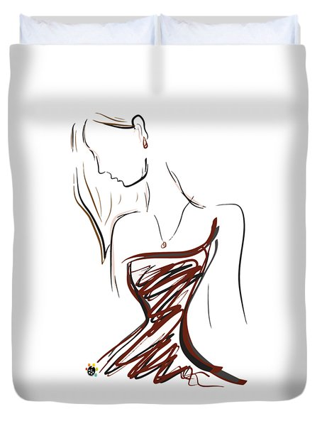 Girl In Red Duvet Cover