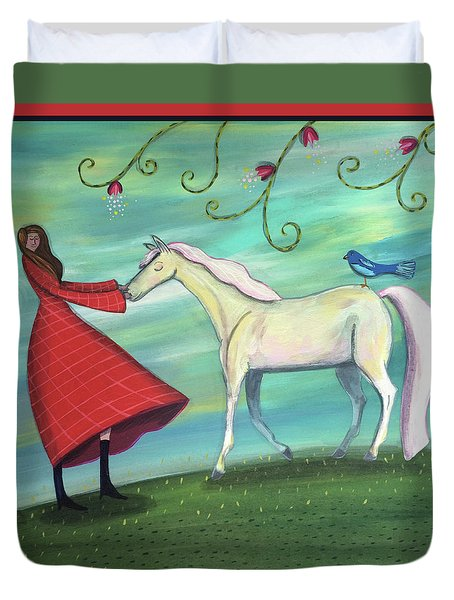 Duvet Cover featuring the painting Girl In Red With White Pony by Marti McGinnis