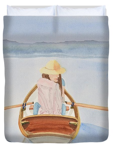 Girl In Rowboat Duvet Cover