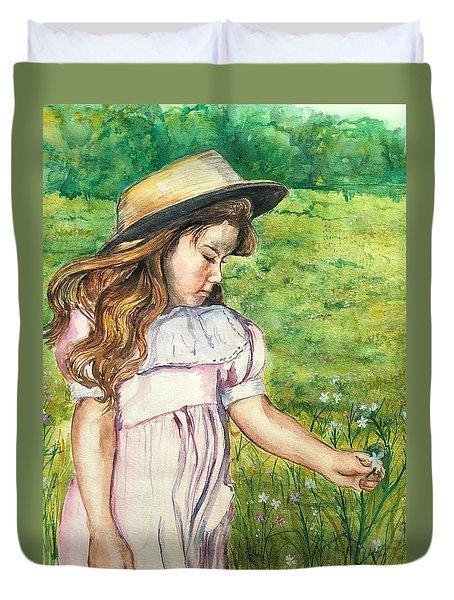 Girl In Straw Hat Duvet Cover