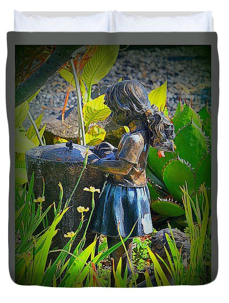Duvet Cover featuring the photograph Girl In The Garden by Lori Seaman