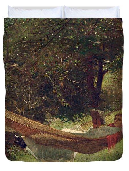Girl In The Hammock Duvet Cover by Winslow Homer